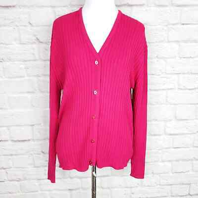 Lacoste Magenta Pink V-neck Ribbed Stretch Cardigan Made In France Sz US 8 EU 40 • 25.33£