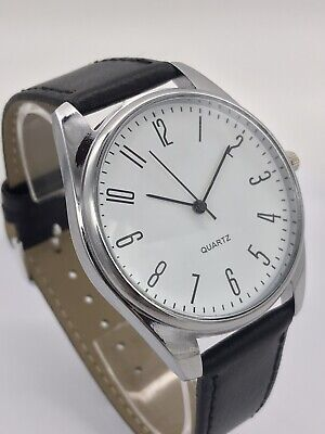 £6.96 • Buy Men's Classic Analogue Watch-White Dial With Calf Grain Black Leather Strap