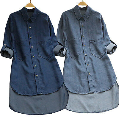 Womens Long Sleeve High Low Denim Midi Dress Longline Shirt Tee Loose Tops 22 • 14.91£