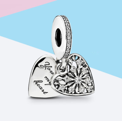 GENUINE PANDORA S925 You Melt My Heart Charm Sterling Silver Cubic Zirconia ALE • 13.99£