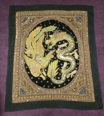 Vintage Wall Hanging Oriental Embroidered Japanese Embossed Dragon Phoenix China • 99.99£