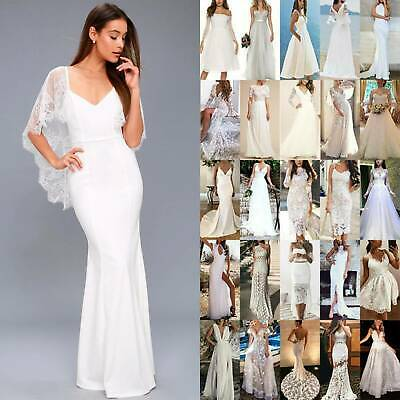 AU29.06 • Buy Womens White Formal Bridesmaid Wedding Lace Dress Cocktail Evening Party Prom AU