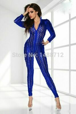 £13.99 • Buy Sexy Stretch Silver Or Blue Wet PVC Look Jumpsuit Catsuit Bondage Valentines