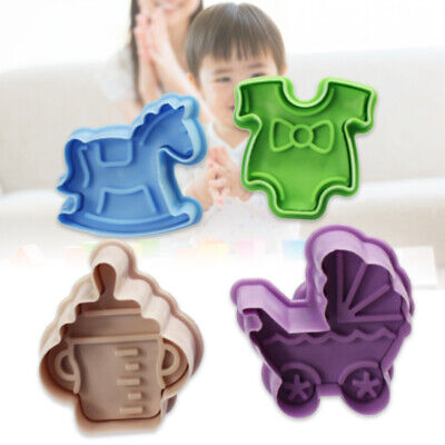 £3.17 • Buy 4PCS/Set Stamp Plunger Cutter Cookie Mold DIY Hand Press 3D Baby Clothes Shower