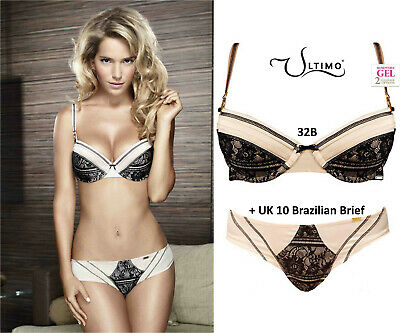 Ultimo Black Label 'Paris' Champagne Satin & Lace Gel Padded Bra Set 32B • 45£