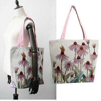 Bag Rosa Tila Canvas Shoulder With Pattern Floral Daisy Large Embroidery Tote • 21.83£