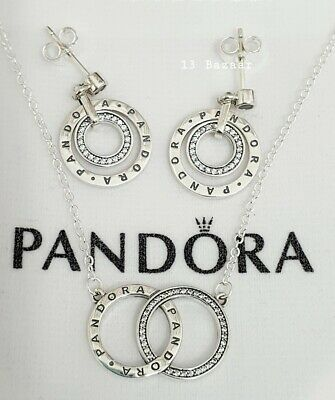 Pandora Genuine Circles Logo Necklace + Stud Drop Dangle Earrings Giftset S925 A • 30.99£
