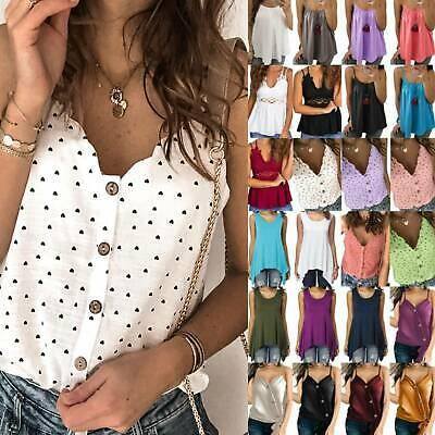 Ladies Summer Strappy Tank Top Vest Casual Sleeveless Tunic Camisole Blouse Tops • 12.89£