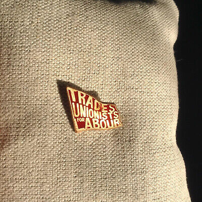 Scarce Trades Unionists For Labour C.1986 Red Enamel & Brass Flag Lapel Badge • 9.99£
