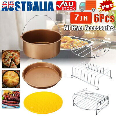 AU21.95 • Buy 7'' Air Fryer Frying Cage Dish Baking Pan Rack Pizza Tray Pot Accessories AU