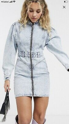 TOPSHOP Acid Wash Puff Sleeve Mini Denim Dress In Blue Size 10 SOLD OUT • 30£