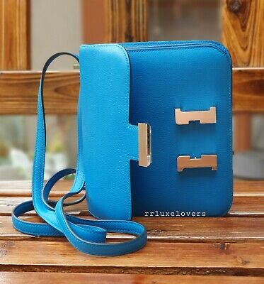 AU14995 • Buy 💙 Hermes C18 Mini Constance Bleu Zanzibar Evercolour Leather Palladium Hw 💙
