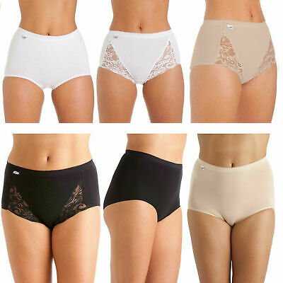 Sexy Ladies La Marquise PLAIN & LACE Comfort Smooth Maxi Briefs Knickers 3 Pairs • 7.92£