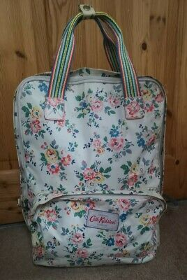 Cath Kidston - Matte Oilcloth Rose Backpack In Cream Laptop Bag Floral White Vgc • 24£