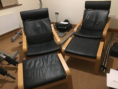 **Barnsley*Ikea Poang Chair & Footstool Black Leather/ Faux Leather Or Cushions • 85£