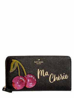 $ CDN88.37 • Buy NWT Kate Spade Ma Cheri Lacey Continental Appliqué Wallet Black Free Shipping