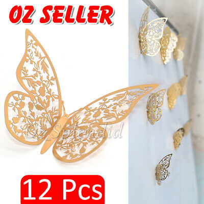 AU4.85 • Buy 12x 3D  Butterfly Wall Decals Stickers Removable Kids Nursery Decoration NEW AU