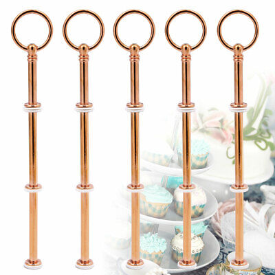 5Pcs Rose Gold Cake Cupcake Stand Fittings Kit 2/3 Tier Handle Rod Wedding Party • 9.99£