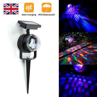 NEW Solar LED Carnival Spotlight Colour Changing Projection Stake Light Outdoor' • 10.99£