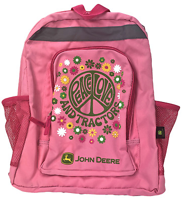AU16.38 • Buy John Deere Backpack Pink Peace Love And Tractors 2 Compartments 2 Mesh Pockets