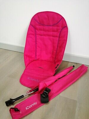 Icandy Peach Bubblegum Pink Seat Liner Non Slip And Parasol With Clip • 30£