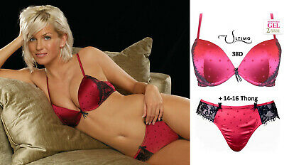 Ultimo Berry Satin & Black Eyelash Lace Gel Padded Push-up Bra & Thong Set: 38D • 34£