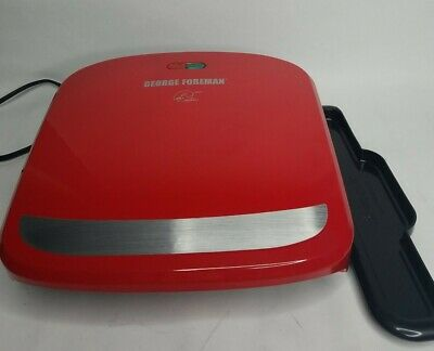 George Foreman Grill Red GRP360R 2 Servings Removable Plate Grill Panini Press • 22.64£