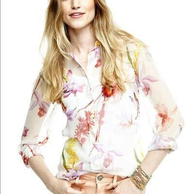 £46.71 • Buy Equipment Slim Signature Floral Print Blouse Size XS Sheer Button Up Silk Shirt