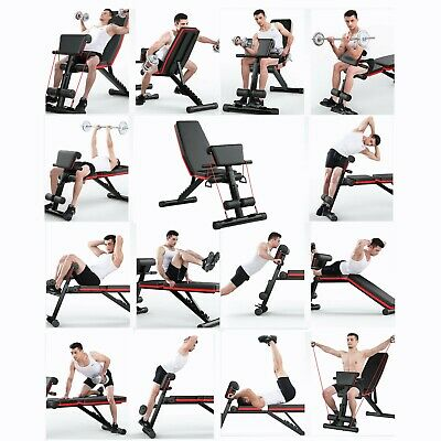 £50.99 • Buy Foldable Sit Up Bench AB Abdominal Crunch Weight Training Adjustable Workout Gym