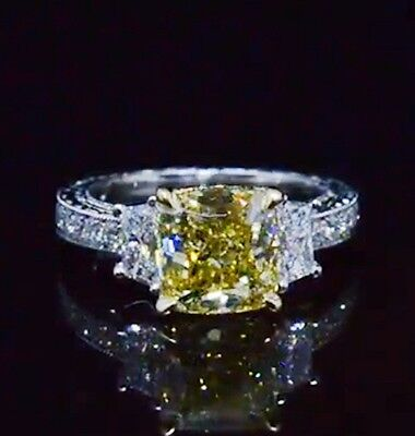 2.68 Ct Cushion Cut Canary Engraved Vintage Diamond Engagement Ring SI2 EGL 18K • 8,986.25£