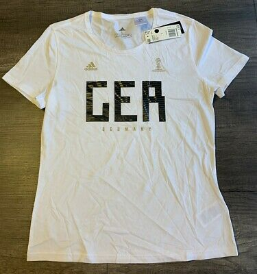 Adidas World Cup Soccer Germany Women's Tee Large White • 5.57£