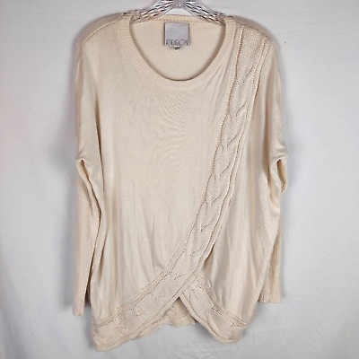£12.13 • Buy Addison Cream Crossover Drape Cable Knit Sweater Cardigan Throw Sz XS