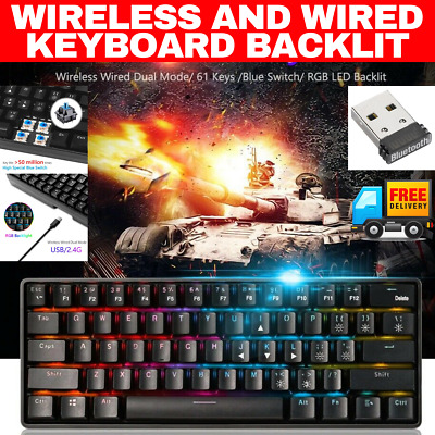 AU69.95 • Buy Rgb Mechanical Gaming Keyboard Wireless Wired Dual Mode Cherry Mx Blue Switches