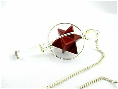 Red Jasper Spinning Merkaba Pendulum 2.5 Inch Jet International Crystal  • 12.99£