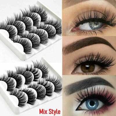 5 Pairs 3D Eyelashes Long Natural Fluffy Thick Wispy  Mink False Eye Lashes Fake • 2.95£