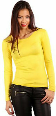 YELLOW Ladies Long Sleeve Thermal Base Layer Cotton Round Neck T-Shirts  2215 • 4.99£