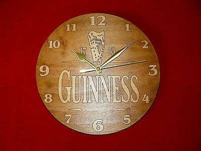 £13 • Buy Guinness Drink Engraved Wood  Wall Clock 24 CM Great Gift