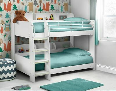£519.99 • Buy Julian Bowen Domino Bunk Bed Frame 3FT Single White With Shelves And Glow Strips