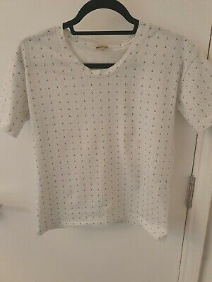 Hobbs Anchor Print White T Shirt Size XS (Fits 8-10) • 3.50£