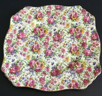 $ CDN65 • Buy Vintage Royal Winton Grimwades Summertime Chintz England 10  Square Plate