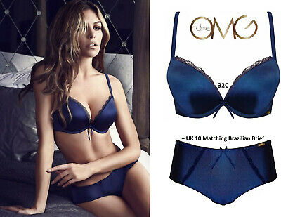 Ultimo OMG Blue Gel Padded Push-up Racer-back Plunge Bra Set: 32C & 8 Short • 32£