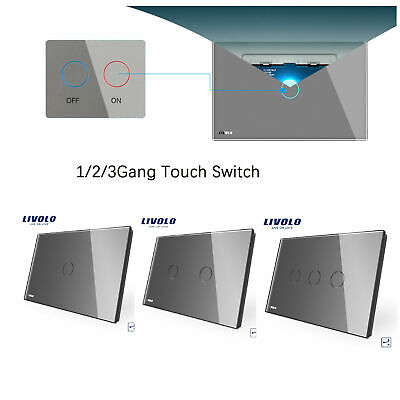 AU26.95 • Buy LIVOLO AU Standard Light LED 1/2/3Gang 1Way Touch Glass Panel Switch Grey Color