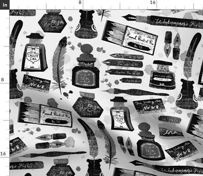 Vintage Feather Ink Pen Typography Calligraphy Spoonflower Fabric By The Yard • 15.78£