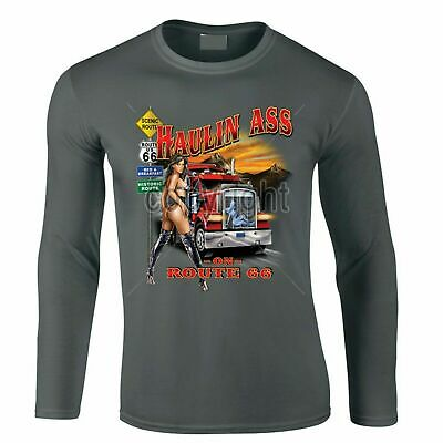 Mens Hotrod 58 Long Sleeve T Shirt Trucker American Haulage Truck Clothing 106 • 13.99£