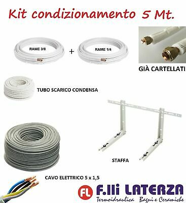 Installation Kit Air Conditioner 5 MT Copper Tube 1/4   3/8   Brackets • 85.96£