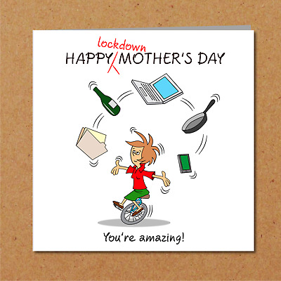 Lockdown Mothers Day Card -Funny Humorous Humour Mum Mom Family Joke Home School • 2.97£