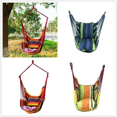 Hanging Hammock Chair Portable Garden Swing Seat Tree Travel Camping Poly Cotton • 12.99£