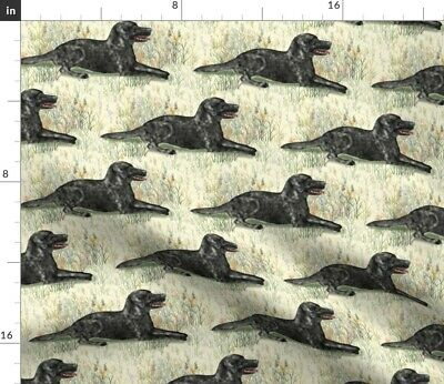 Black Lab Wildflowers Landscape Labrador Spoonflower Fabric By The Yard • 9.32£