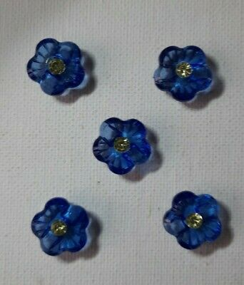 £1 • Buy 5 BLUE RESIN FLOWER SHAPED BUTTONS WITH CENTRE STONE -  15mm DIAMETER -