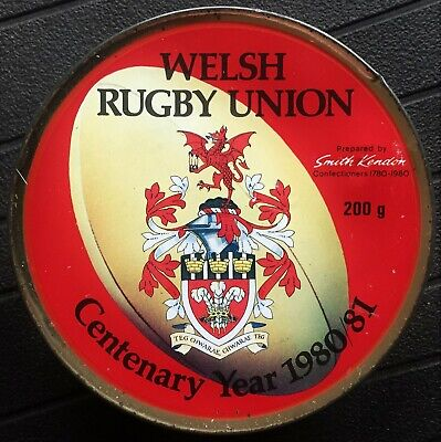 Welsh Rugby Union Centenary 1980/1  -  Smith Kendon Travel Sweets Tin • 3£
